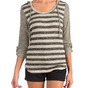 THIN AND THICK STRIPED HOODIE TOP