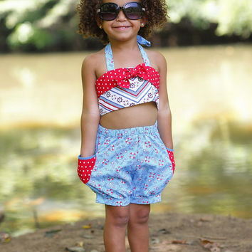 Girls Bubble Shorts and Halter Top - Nautical Fun