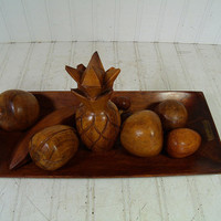 Vintage Set of Solid Rustic Wood Fruit & Tray - Retro Group of 9 Wooden Primitive Pieces - Monkey Pod Collection Hand Carved Fruit Compote