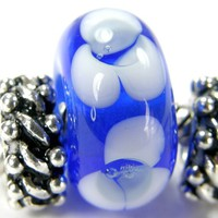 Art Glass Charm Lampwork Slider Bracelet Bead Flowers Blue White BHB
