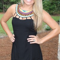 Bangles Boutique — Embroidered Aztec Print Cut-Out Collar Dress
