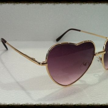 Heart Shape Sunglasses Gold Metal Frame multi-colored Lens Hippie Hipster Retro