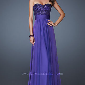 La Femme Strapless Prom Gown 18584
