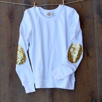 Sequin Elbow Patch Sweatshirt  Dazzle Patch Sweatshirt Jumper w/Sequin Elbow Patch White Women's Sequin Shirt Top Sweatshirt