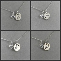 STERLING SILVER PUFFED HEART LOVE TO RUN DISTANCE - Choose either RUN or 5K, 10K, 13.1 or 26.2 - Sterling Silver pendants on a 16 inch sterling silver ball chain - Additional chain lengths available