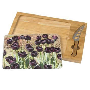Black Tulips Rectangular Cheese Board