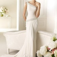 Chiffon One Shoulder Strap Sheath Beaded Detail Neckline And Waistline 2013 Wedding Dresses at Dresseshop