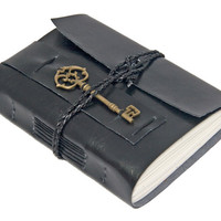 Vegan Black Faux Leather Wrap Journal with Key Bookmark