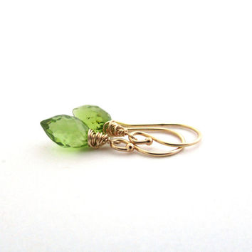 14K gold peridot earrings, green gemstone jewelry. August birthstone peridot jewelry, 14K solid gold earings, delicate 14k gold earrings