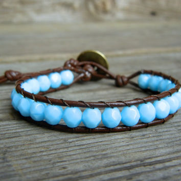 Beaded Leather Single Wrap Stackable Bracelet with Sky Blue Baby Blue Czech Glass Beads on Brown…