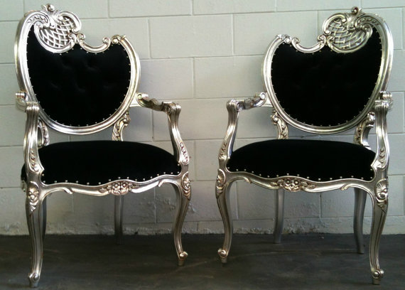 Glamorous Black on Silver Filigree Hollywood Regency Throne Accent Chair