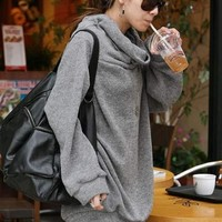 Grey Loose Fit Long Line Asian Fashion Casual Sweater With A Wide Turtleneck