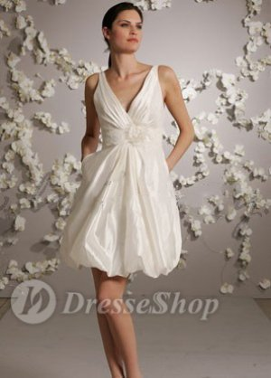 White Empire V-neck Knee Length Taffeta Hand Made Flower Wedding Dresses at Dresseshop