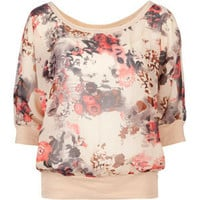 DIALED UP 3/4 Sleeve Floral Chiffon Womens Top 203437957 | Blouses & Shirts | Tillys.com