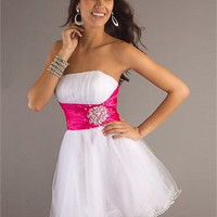 Short A-line Strapless Knee Length Beaded White Prom Dress PD1904