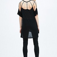 Sparkle & Fade Cut-Out Slouchy Tee in Black - Urban Outfitters