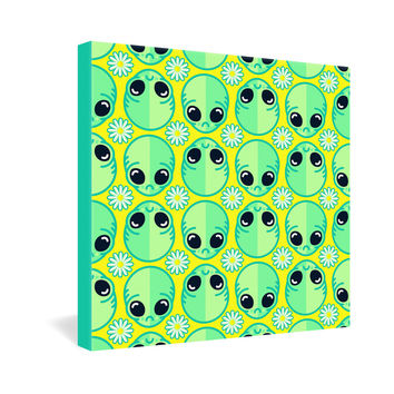 Chobopop Sad Alien And Daisy Pattern Gallery Wrapped Canvas