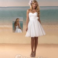 A-line Sweetheart Organza Hand Made Flower White Short/Mini Dress (XFSRDS033) at Dresseshop