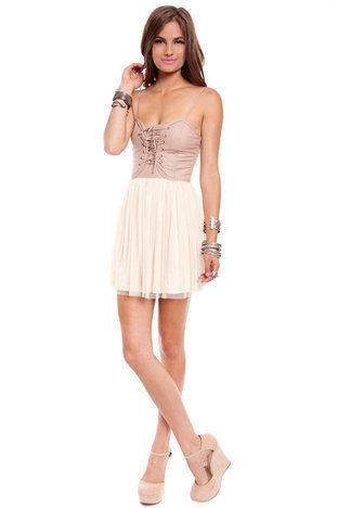Bad Ballerina Dress in Taupe and Beige :: tobi