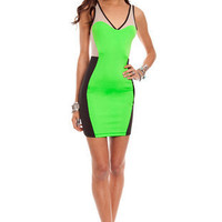 Block It Out Dress in Neon Lime :: tobi