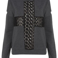 Lace Cross Open Shoulder Sweat - Belief  - Collections