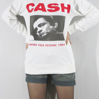 JOHNNY CASH Newport Folk Festival 1964 The Classic Prison Concerts Women Shirt Men Shirt Unisex Shirt Long Sleeve White Sweater Shirt M