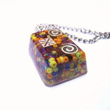 Glassy Necklace, OOAK Necklace, Beach Necklace, Colorful Jewelry, Fun jewelry,
