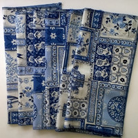 Blue Floral Patchwork - Upcycled Lunchbox Napkins, Fabric Wipes Eco Friendly, 2 Layer Cotton, Set of 6