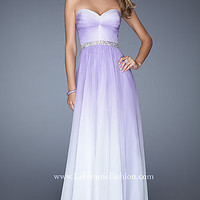 Long Ruched Strapless La Femme Prom Dress