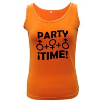 Party Time Threesome Sex Concept Typographic Design Women's Tank Top (Dark Colored)