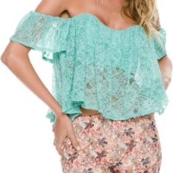 SWELL LOCA OFF SHOULDER LACE TOP