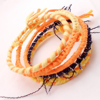 Upcycled Fabric Bracelet Stack - Yellow, Orange, and Blue