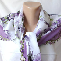 Purple, White, Green Cotton with Turkish OYA Spring Scarf