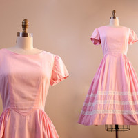 50s dress / vintage 1950s day dress / pink & white lace // size small S XS