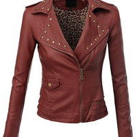 Doublju Women's Faux Leather Rider Jackets