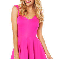 V Neck Flare Dress in Hot Pink
