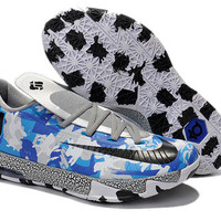 """White Grey with Blue Colors Mens Nike KD 6 """"Air Force"""" Basektball Shoes"""