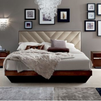 Scandinavia Furniture Metairie New Orleans Louisiana offers Contemporary & Modern Furniture for your Living Room - ALF - ITALIA HIGH GLOSS WALNUT BED - ScandinaviaFurniture.com