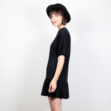 Vintage 80s Dress Micro Mini Dress Skater Skirt Tshirt Dress 1980s Dress Black Dress Skater DressMinimalist Ruffle Skirt M Medium L Large