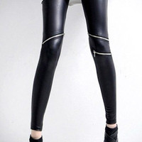 Zipper Detail Black Skinny PU Leggings