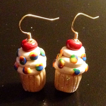 Rainbow Confetti Vanilla Cupcake Earrings made with Sculpey clay