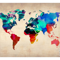 World Watercolor Map 1 Art Print by NaxArt at Art.com