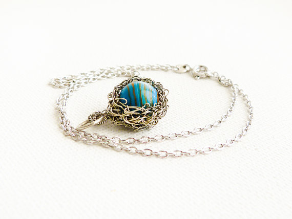 Ocean Turquoise Howlite wire wrapped pendant necklace. December birthstone