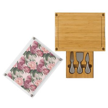 French Pink Roses Cheese Board