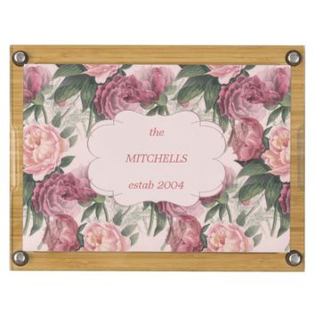 French Pink Roses Personalized Cheese Board