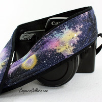 304 Galaxy Camera Strap, Hand painted, One of a Kind, dSLR or SLR, Cosmos, Nebula, OOAK, w