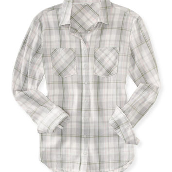 Long Sleeve Plaid Woven Shirt