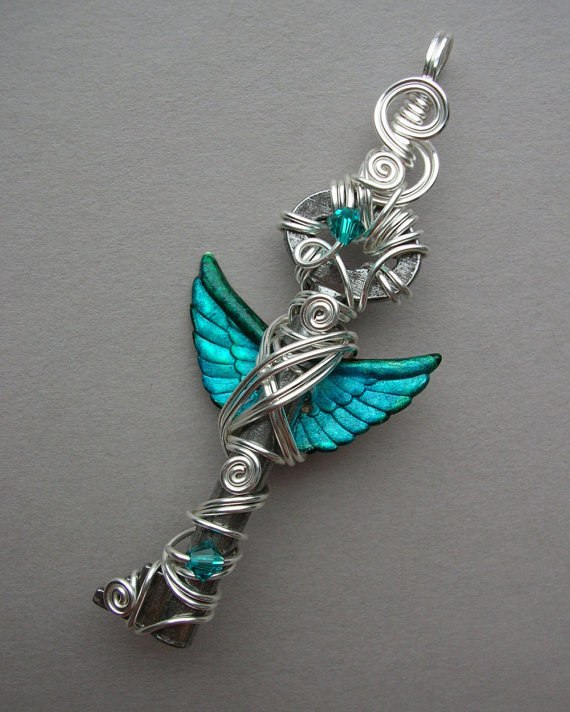 Angel Winged Key Pendant -- Turquoise Inked Small Feathered Winged Antique Key with Swarovski Crystals, Silver Wire