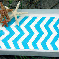 Turquoise Chevron Tray