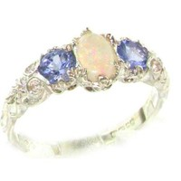Ladies Solid Sterling Silver Natural Opal & Tanzanite English Victorian Style Trilogy Ring - Finger Sizes 5 to 12 Available:Amazon:Jewelry
